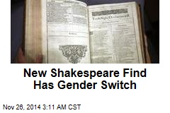 New Shakespeare Find Has Gender Switch