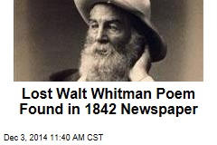 Lost Walt Whitman Poem Found in 1842 Newspaper
