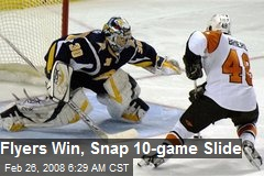 Flyers Win, Snap 10-game Slide