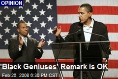 'Black Geniuses' Remark is OK