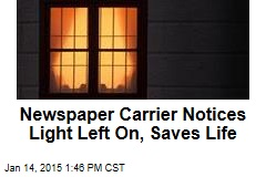 Newspaper Carrier Notices Light Left On, Saves Life