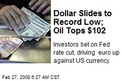 Dollar Slides to Record Low; Oil Tops $102