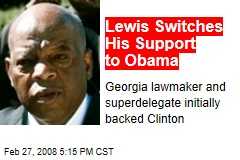 Lewis Switches His Support to Obama