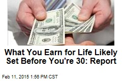 What You Earn for Life Likely Set Before You're 30: Report