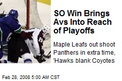 SO Win Brings Avs Into Reach of Playoffs