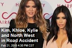Kim, Khloe, Kylie and North West in Road Accident