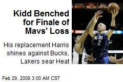Kidd Benched for Finale of Mavs' Loss