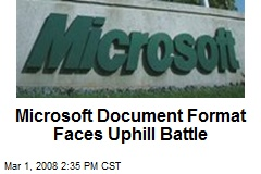 Microsoft Document Format Faces Uphill Battle