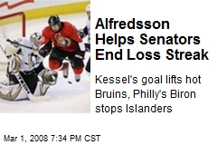 Alfredsson Helps Senators End Loss Streak