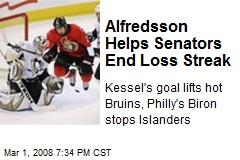 Alfredsson Helps Senators End Loss Streak