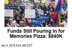 Funds Still Pouring In for Memories Pizza: $840K