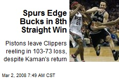 Spurs Edge Bucks in 8th Straight Win