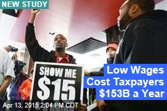 Low Wages Cost Taxpayers $153B a Year