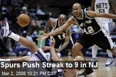 Spurs Push Streak to 9 in NJ