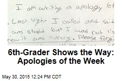 6th-Grader Shows the Way: Apologies of the Week