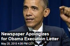 Newspaper Apologizes for Obama Execution Letter