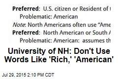 University of NH: Don't Use Words Like 'Rich,' 'American'