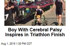 Boy With Cerebral Palsy Inspires in Triathlon Finish