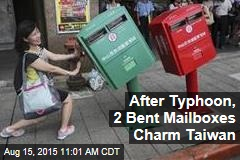 After Typhoon, 2 Bent Mailboxes Charm Taiwan