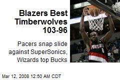 Blazers Best Timberwolves 103-96