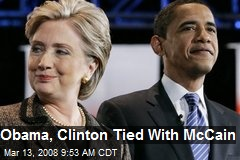 Obama, Clinton Tied With McCain