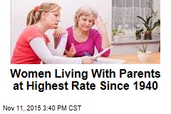 Women Living With Parents at Highest Rate Since 1940