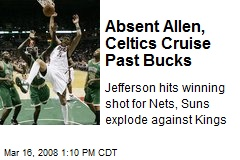 Absent Allen, Celtics Cruise Past Bucks