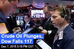 Crude Oil Plunges, Dow Falls 117