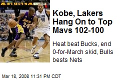 Kobe, Lakers Hang On to Top Mavs 102-100