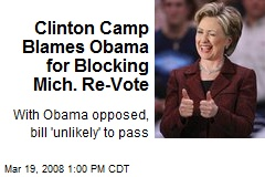 Clinton Camp Blames Obama for Blocking Mich. Re-Vote