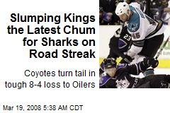 Slumping Kings the Latest Chum for Sharks on Road Streak