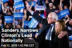 Sanders Narrows Clinton's Lead Nationally