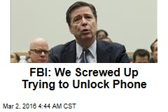 FBI: We Screwed Up Trying to Unlock Phone