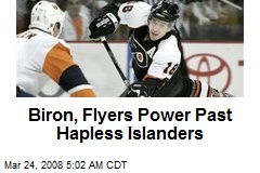 Biron, Flyers Power Past Hapless Islanders