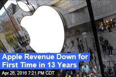 Apple Revenue Down for First Time in 13 Years