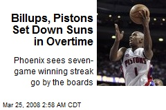 Billups, Pistons Set Down Suns in Overtime