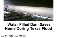 Water-Filled Dam Saves Home During Texas Flood