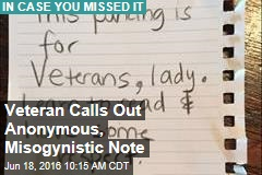Veteran Calls Out Anonymous, Misogynistic Note