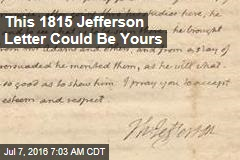 This 1815 Jefferson Letter Could Be Yours