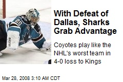 With Defeat of Dallas, Sharks Grab Advantage