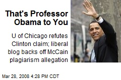 That's Professor Obama to You