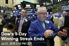 Dow's 9-Day Winning Streak Ends
