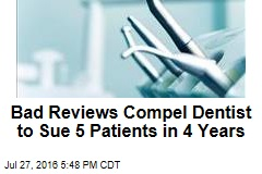 Bad Reviews Compel Dentist to Sue 5 Patients in 4 Years