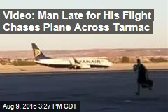 Video: Man Late for His Flight Chases Plane Across Tarmac