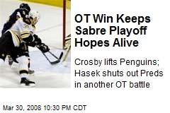 OT Win Keeps Sabre Playoff Hopes Alive