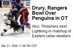 Drury, Rangers Bowl Over Penguins in OT