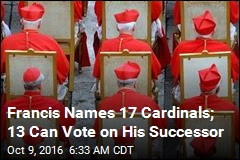 Francis Names 17 Cardinals; 13 Can Vote on His Successor