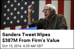 Sanders Tweet Wipes $387M From Firm's Value