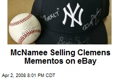 McNamee Selling Clemens Mementos on eBay