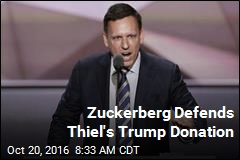 Zuckerberg Defends Thiel's Trump Donation